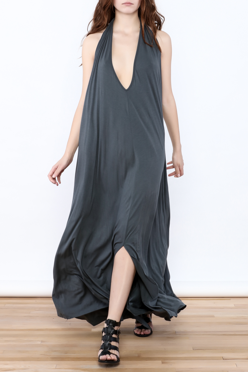 Join Clothes Grey Maxi Dress - Side Cropped Image
