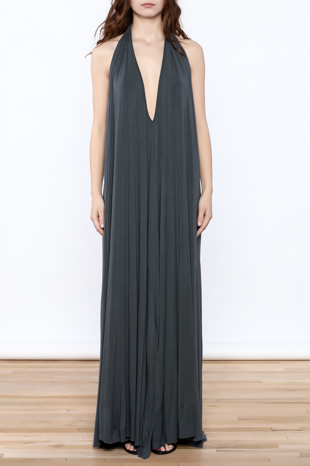 Join Clothes Grey Maxi Dress - Front Cropped Image