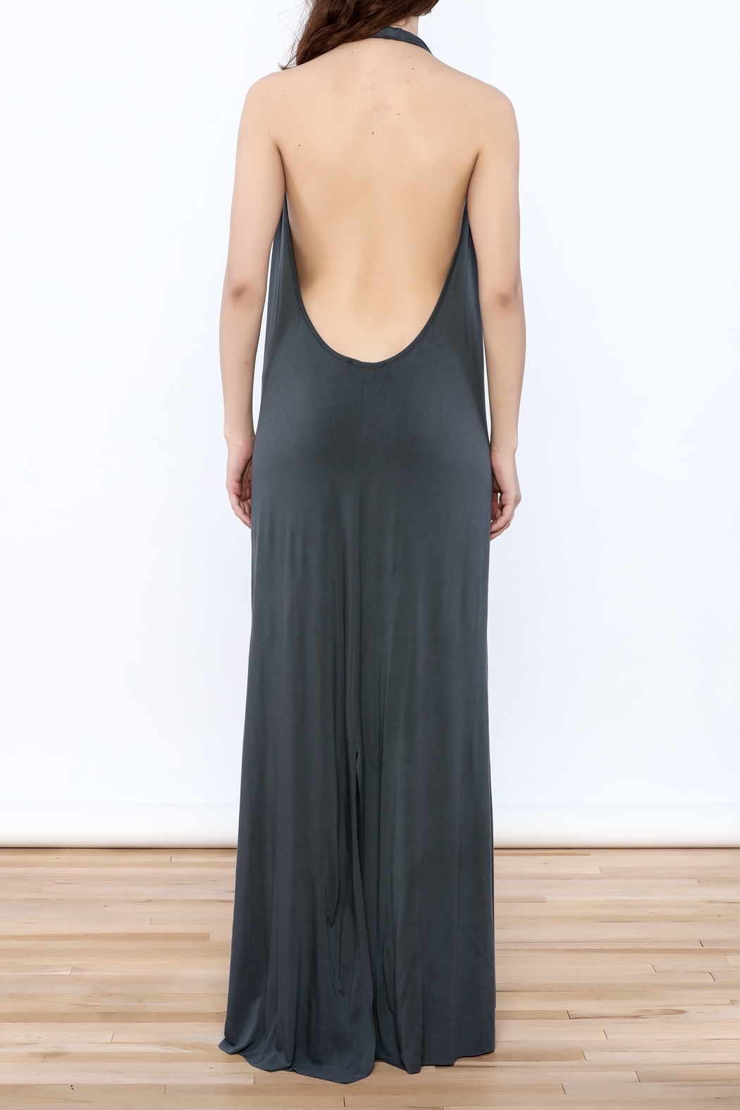 Join Clothes Grey Maxi Dress - Back Cropped Image