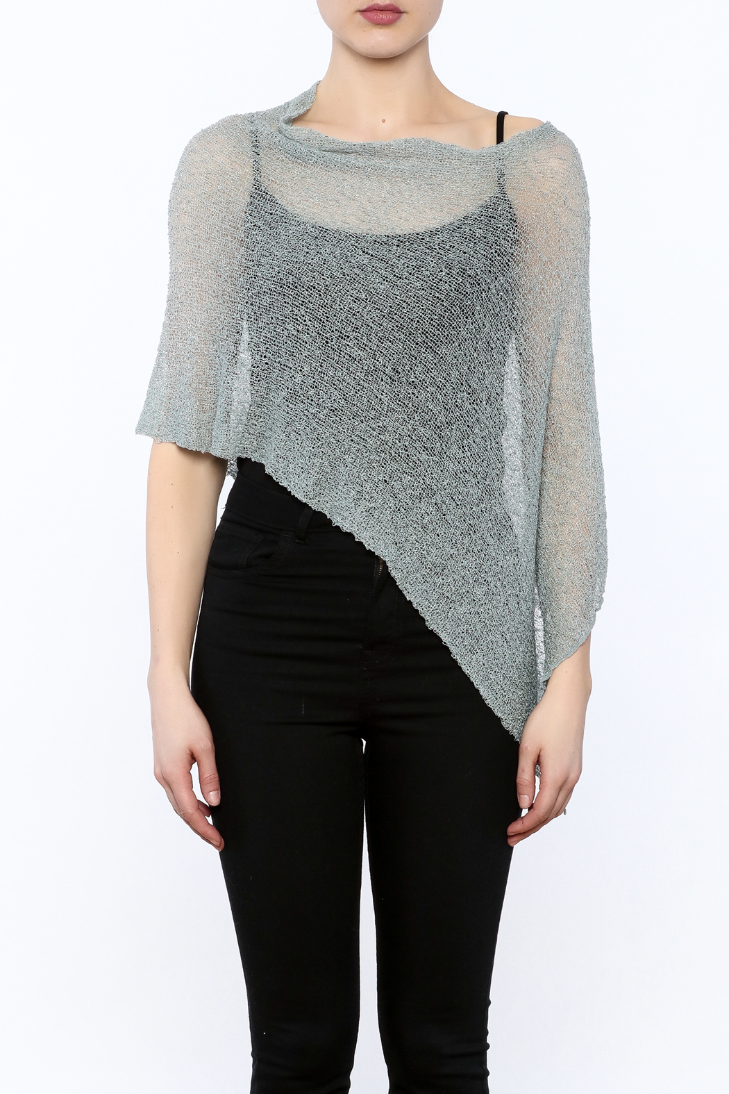 Join Clothes Sheer Mesh Poncho - Side Cropped Image