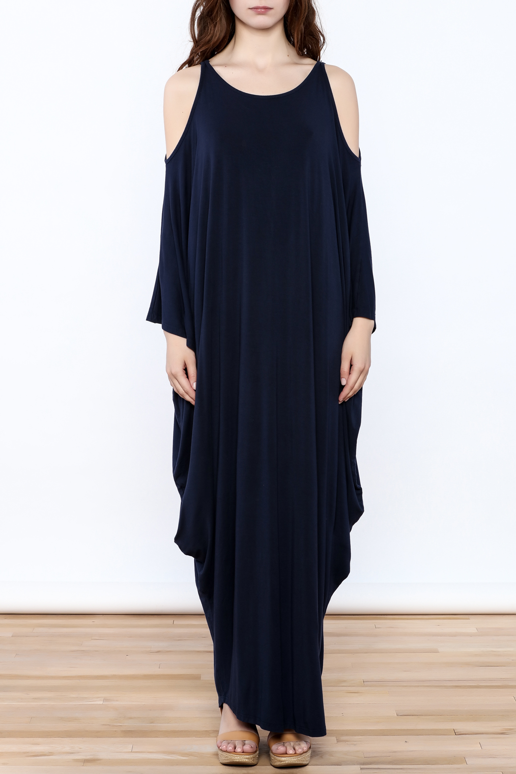 Join Clothes Navy Goddess Maxi Dress - Front Cropped Image