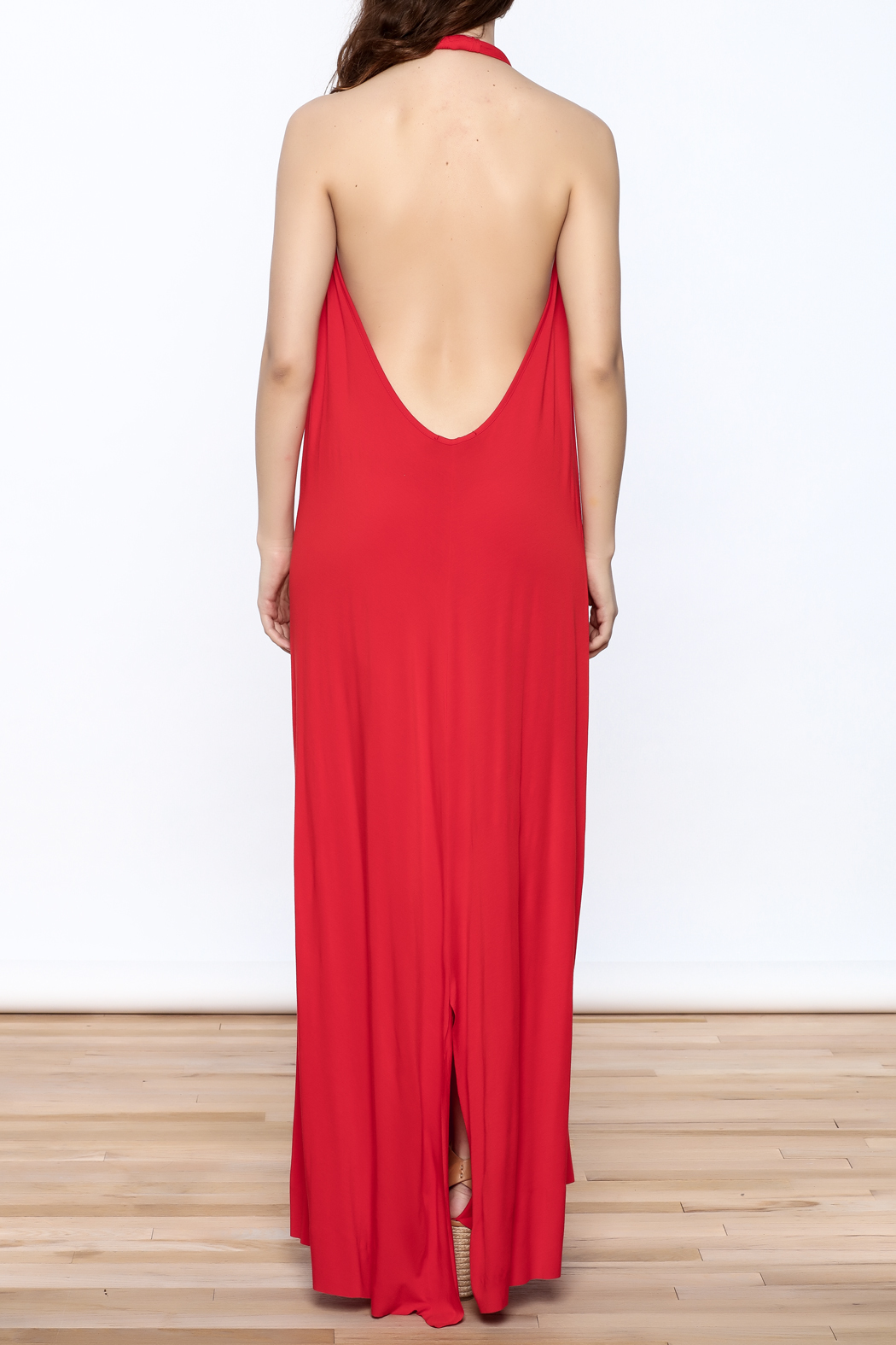 Join Clothes Red Maxi Dress - Back Cropped Image