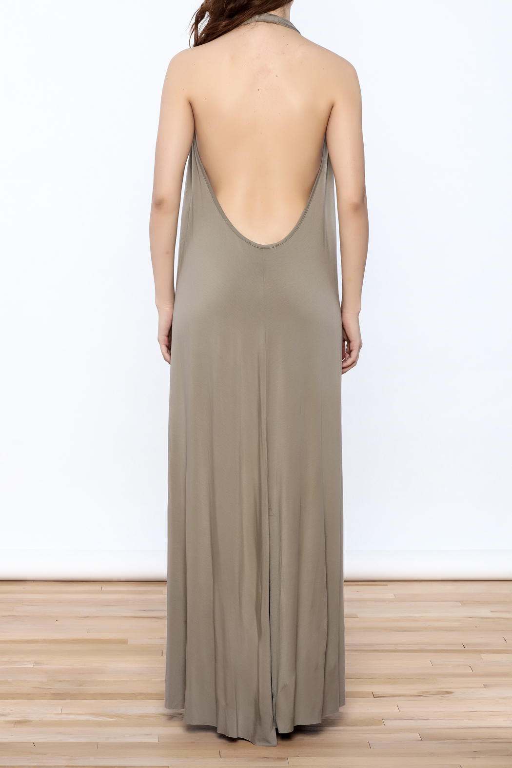 Join Clothes Sand Beige Maxi Dress - Back Cropped Image