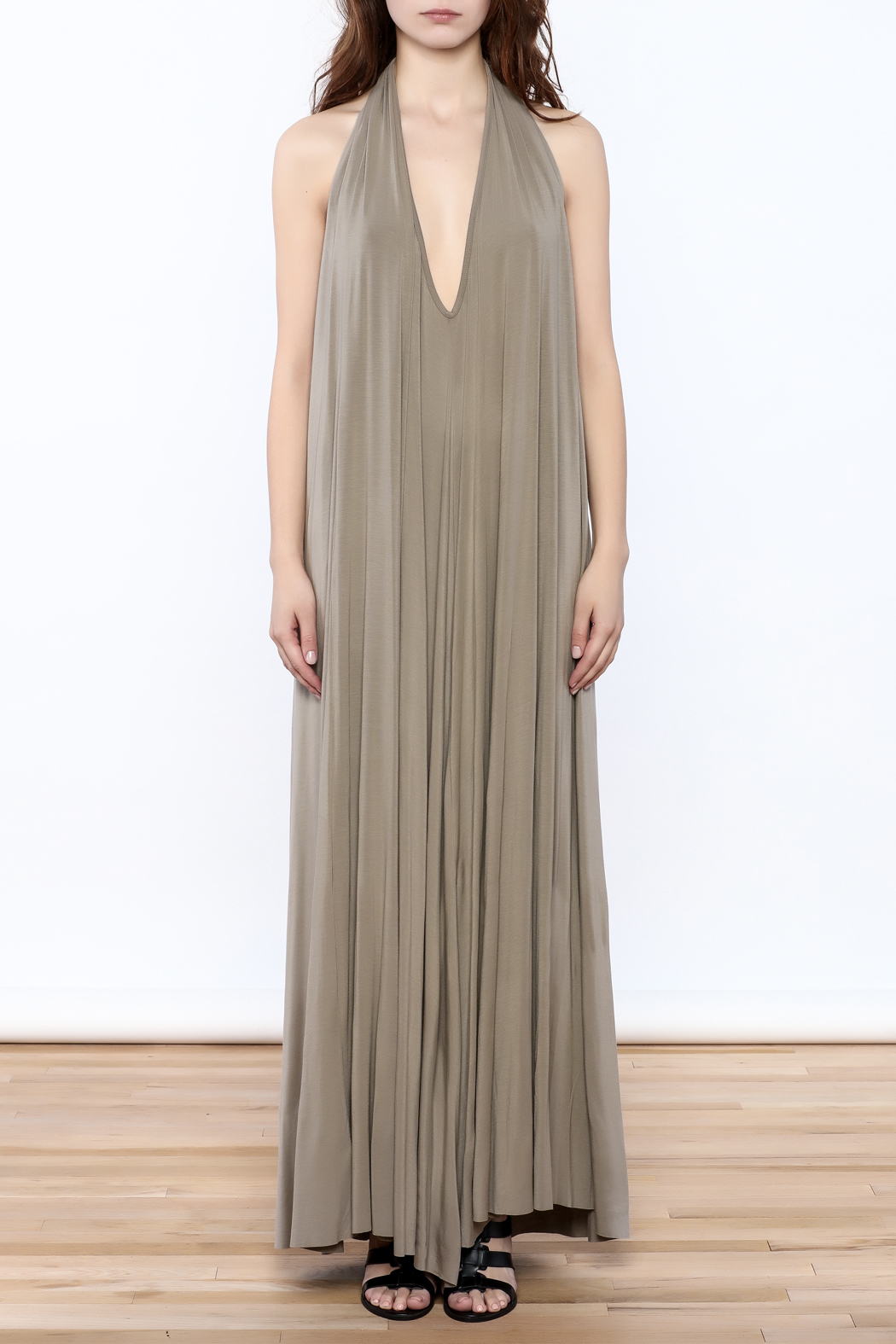 Join Clothes Sand Beige Maxi Dress - Front Cropped Image