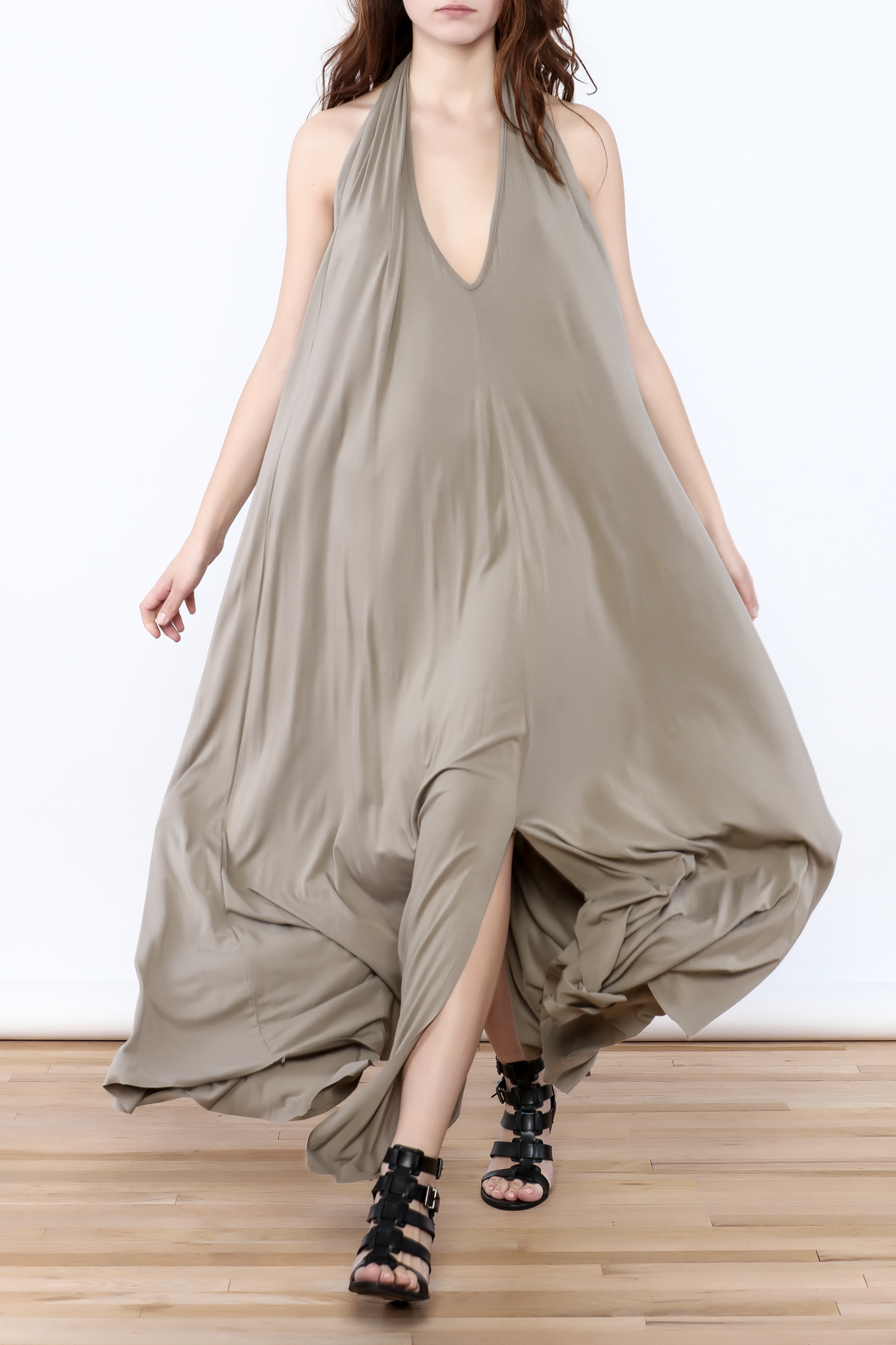 Join Clothes Sand Beige Maxi Dress - Front Full Image