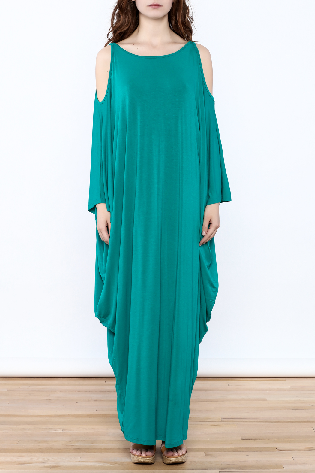 Join Clothes Teal Goddess Maxi Dress - Front Cropped Image