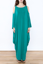Join Clothes Teal Goddess Maxi Dress - Front cropped