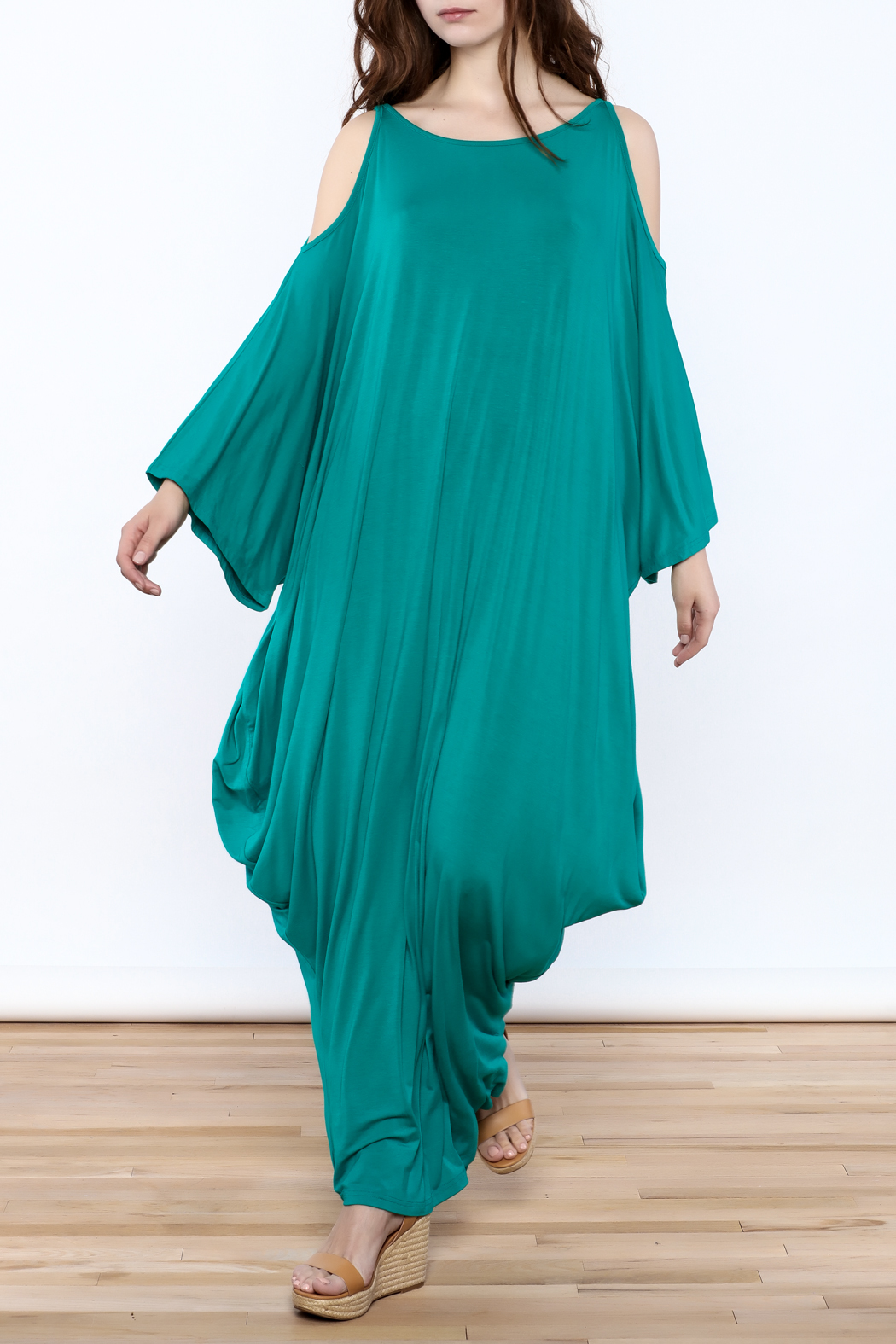 Join Clothes Teal Goddess Maxi Dress - Front Full Image