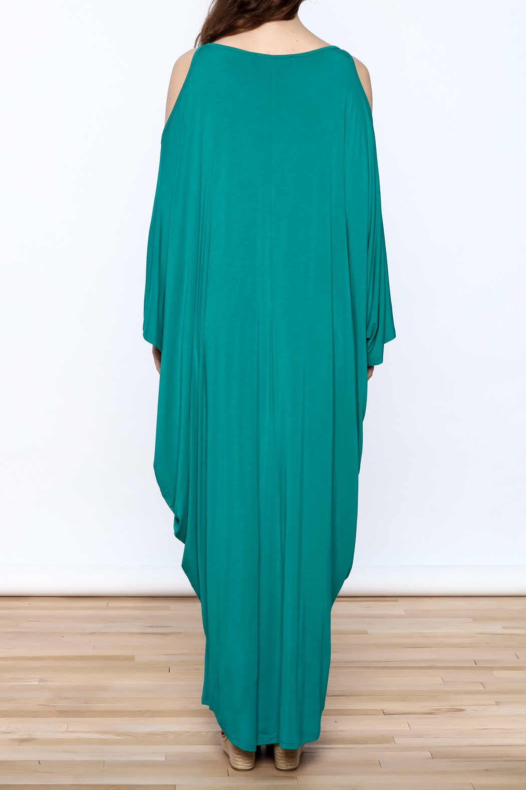Join Clothes Teal Goddess Maxi Dress - Back Cropped Image