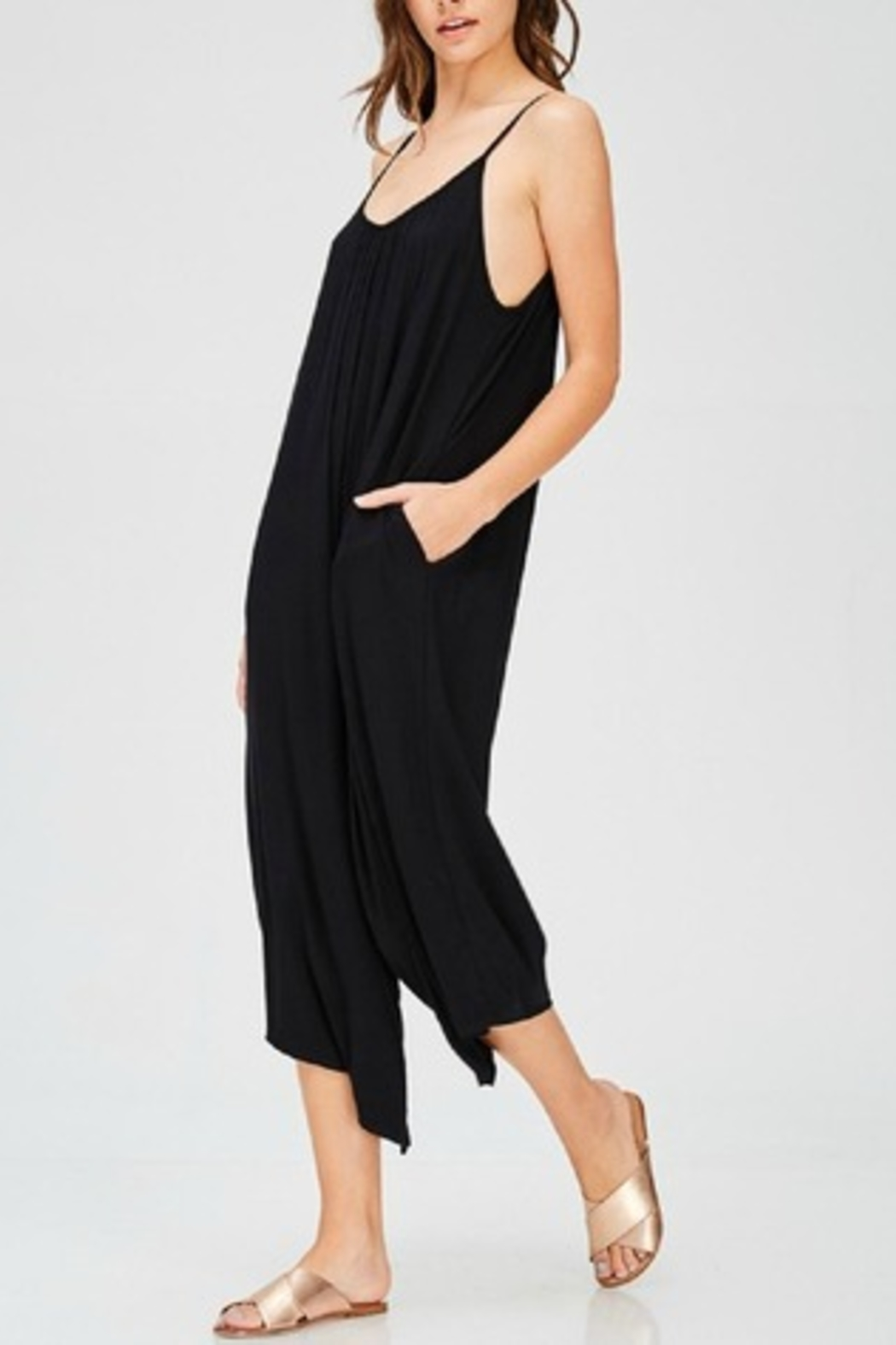 Jolie Black Palazzo Jumpsuit - Front Cropped Image