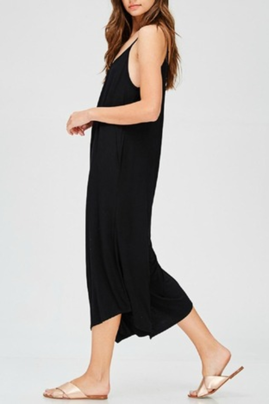 Jolie Black Palazzo Jumpsuit - Front Full Image