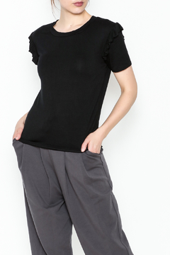 Shoptiques Product: Black Ruffle Tee
