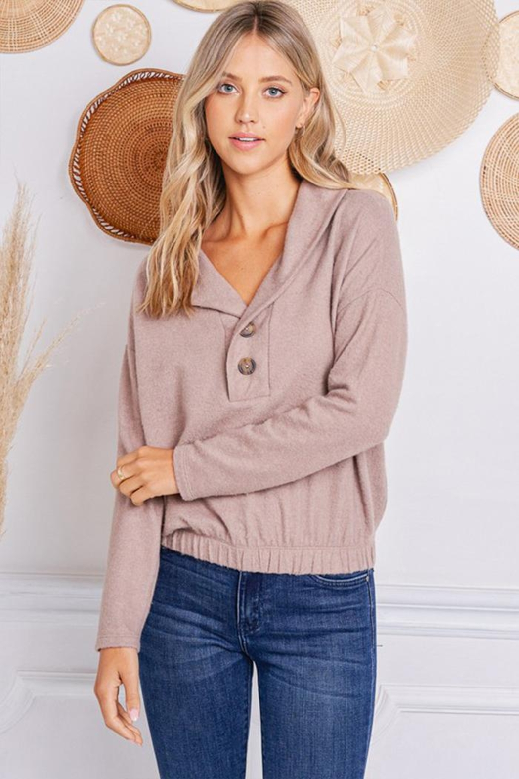Jolie Brushed Terry Sweater - Front Cropped Image