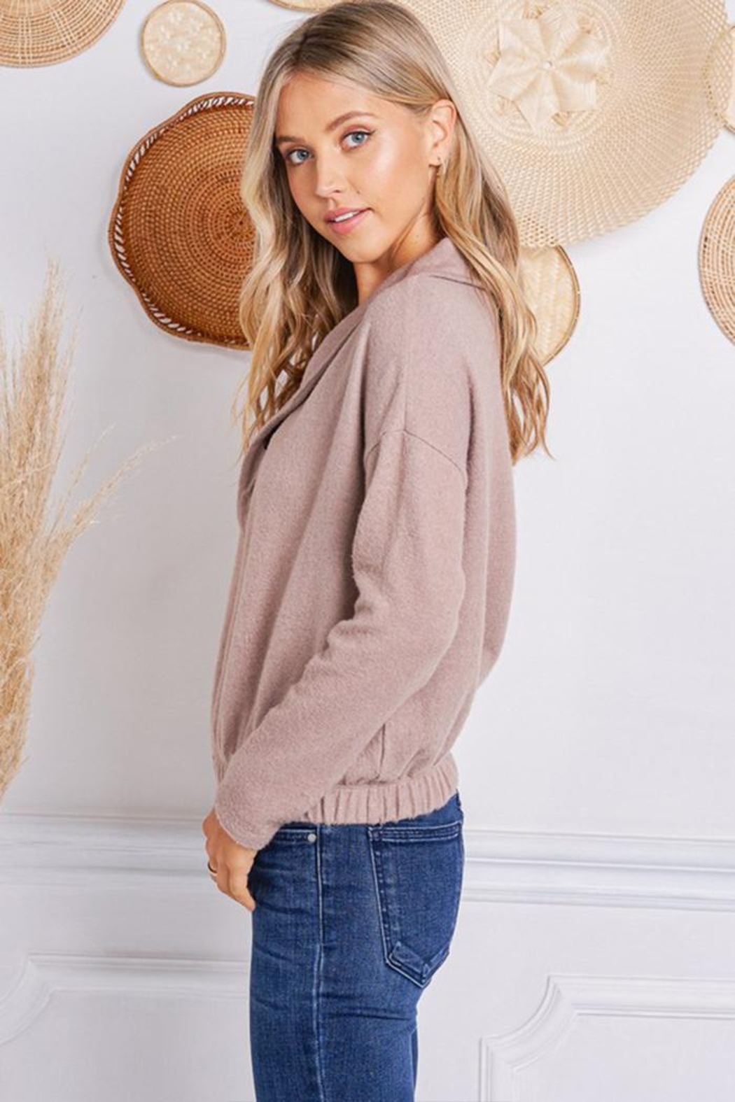 Jolie Brushed Terry Sweater - Front Full Image