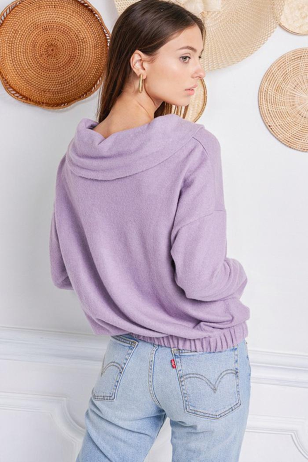 Jolie Brushed Terry Sweater - Back Cropped Image