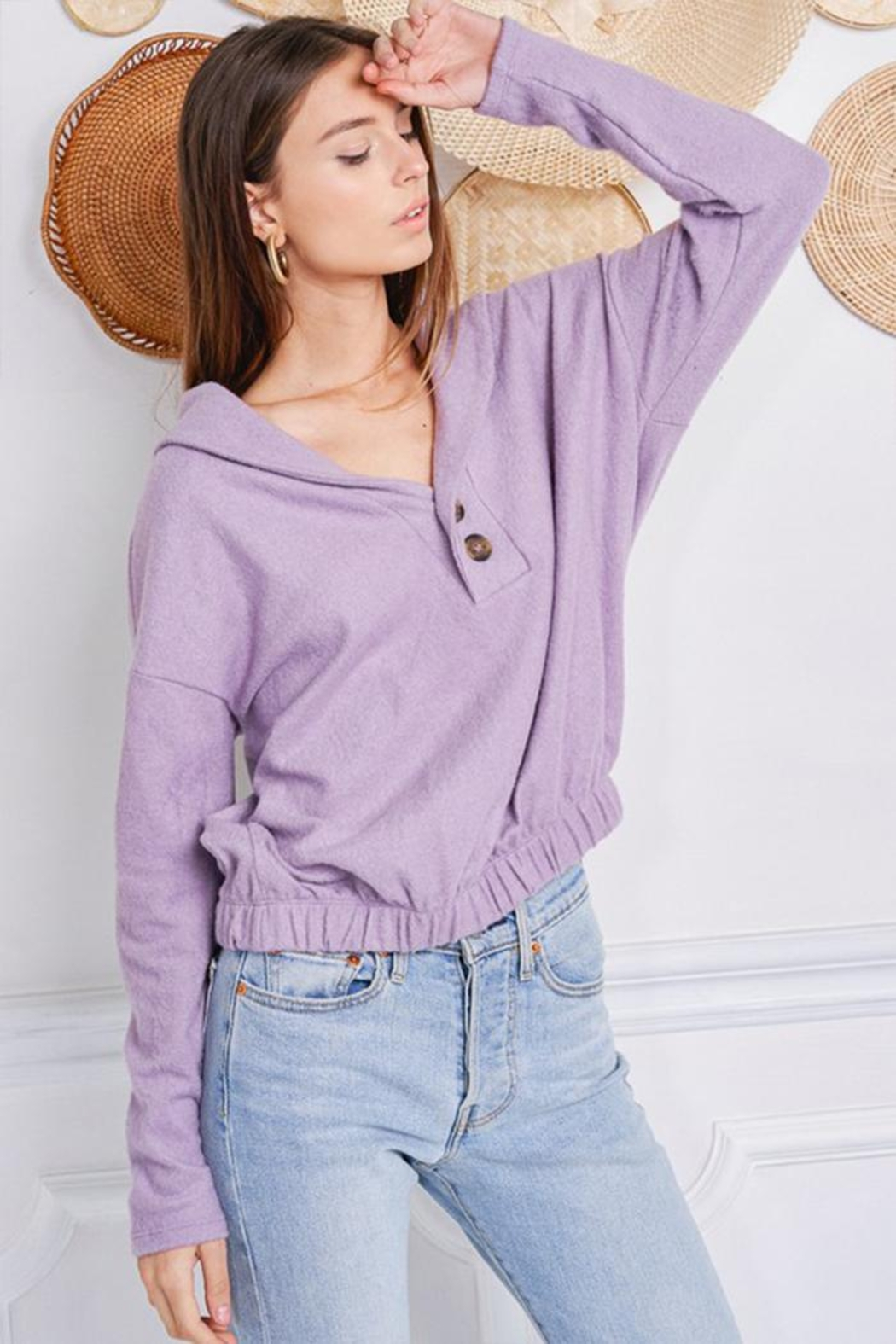 Jolie Brushed Terry Sweater - Side Cropped Image