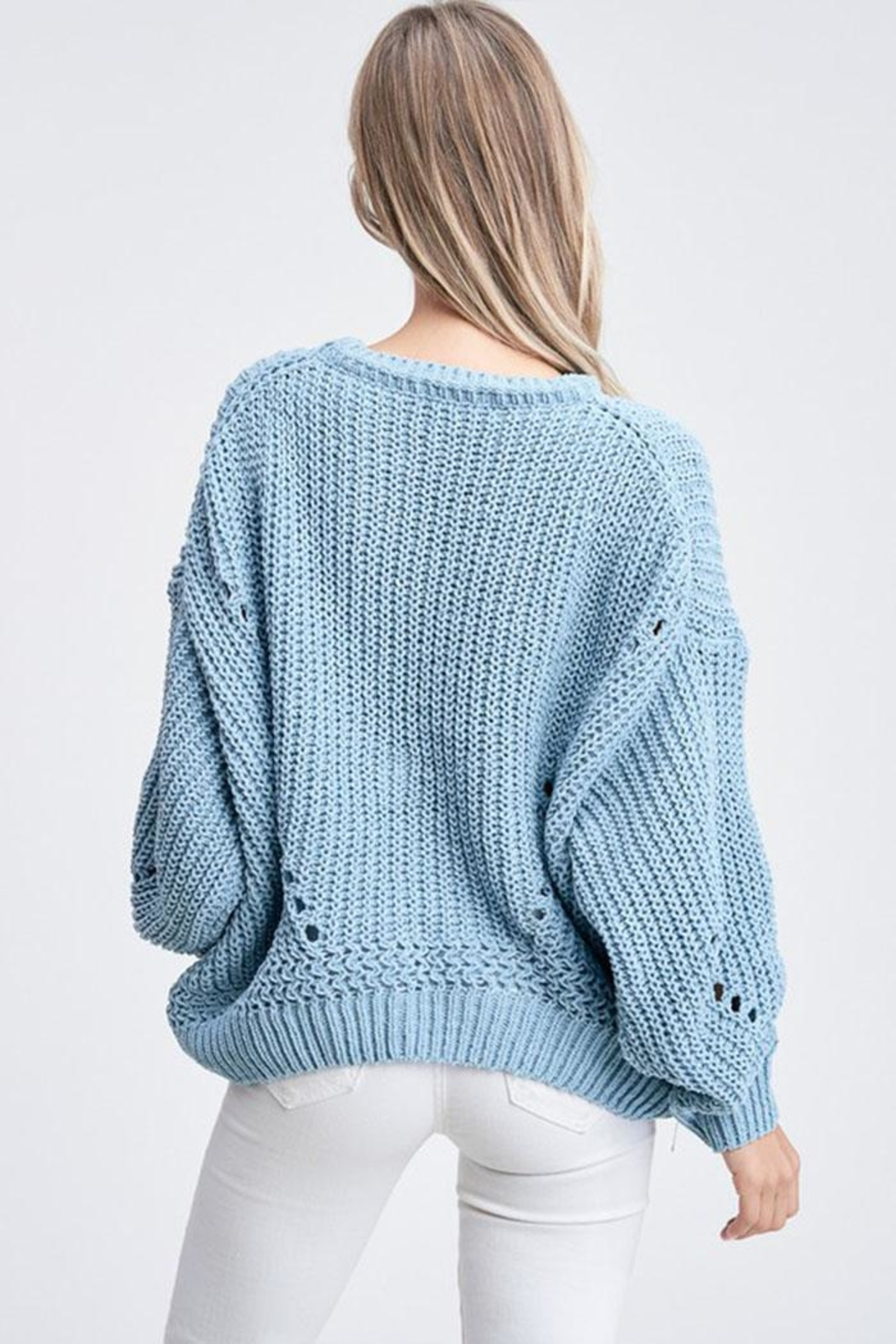 Jolie Bubble Sleeve Sweater - Back Cropped Image