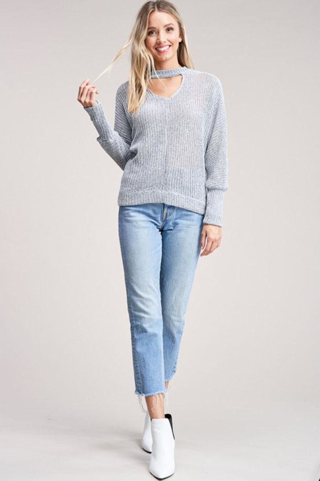 Jolie Choker Front Sweater - Front Full Image
