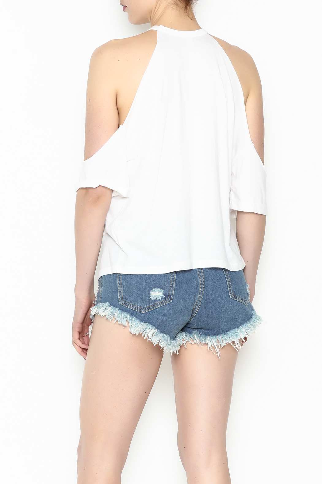 Jolie Cold Shoulder Tee - Back Cropped Image