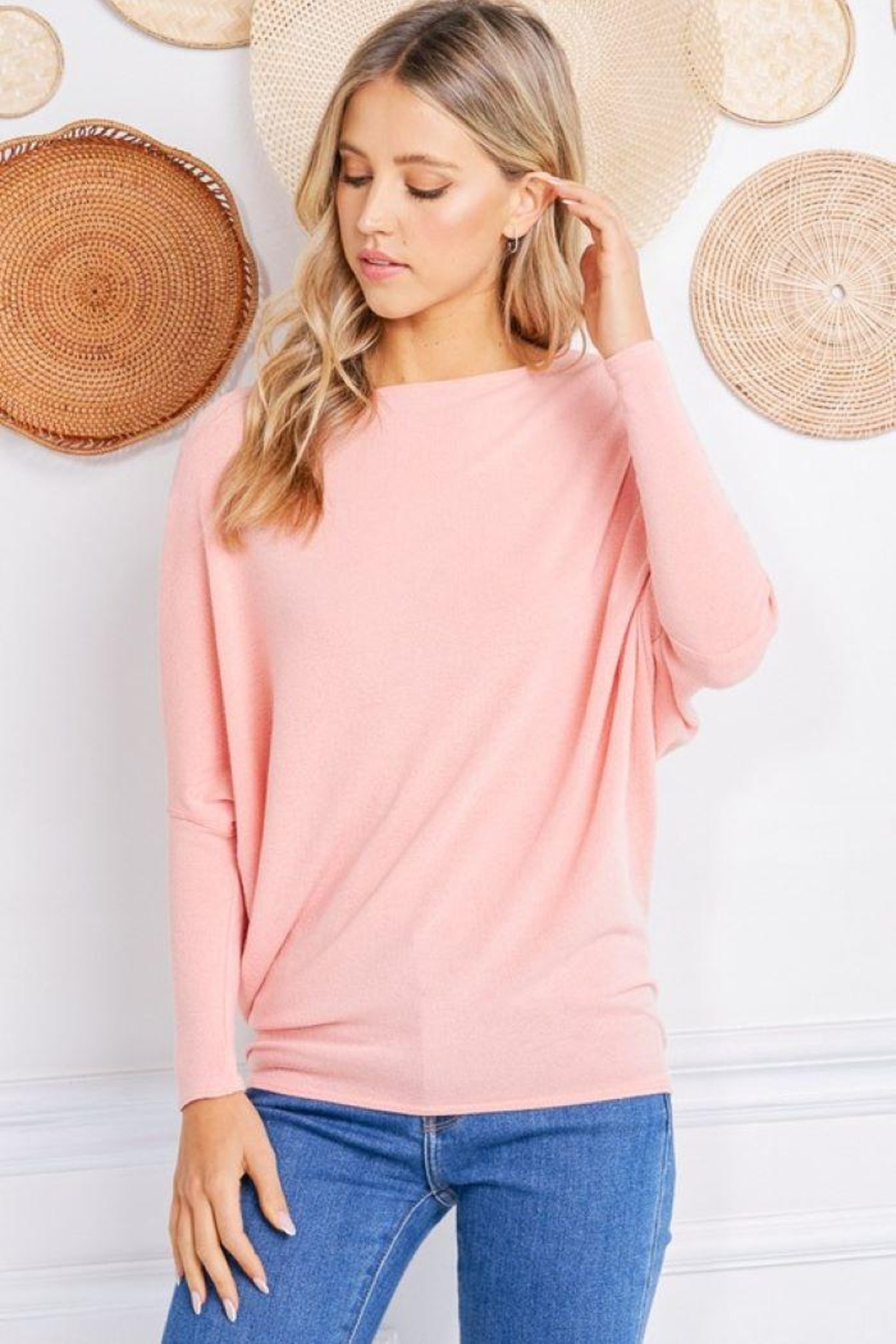 Jolie Crepe Hacci Dolman Sleeve Tunic - Front Cropped Image