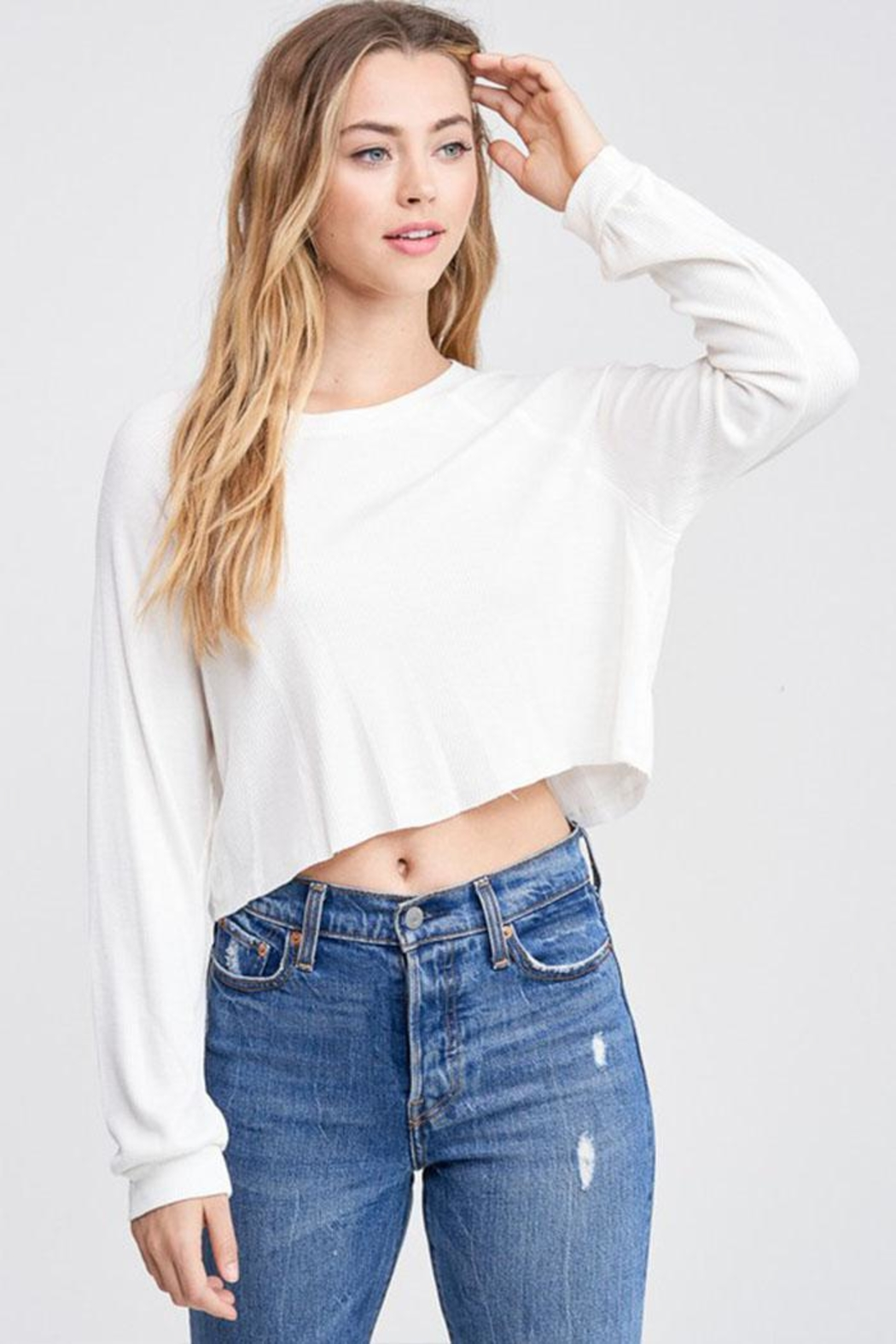 Jolie Cropped Thermal Top - Front Cropped Image