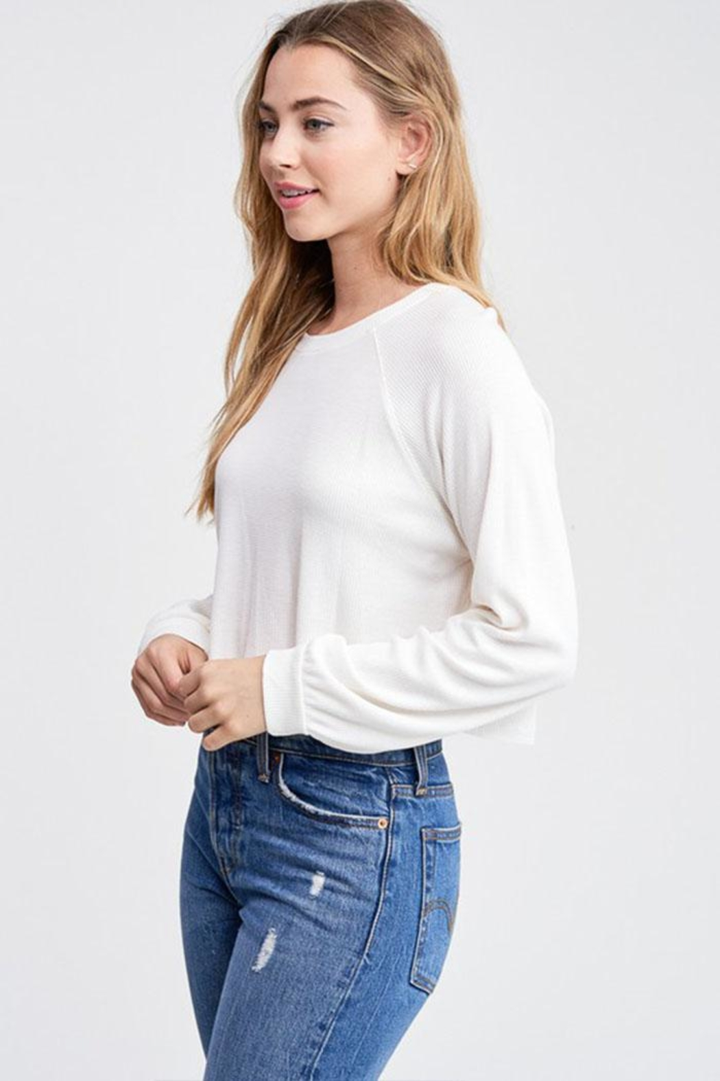 Jolie Cropped Thermal Top - Front Full Image