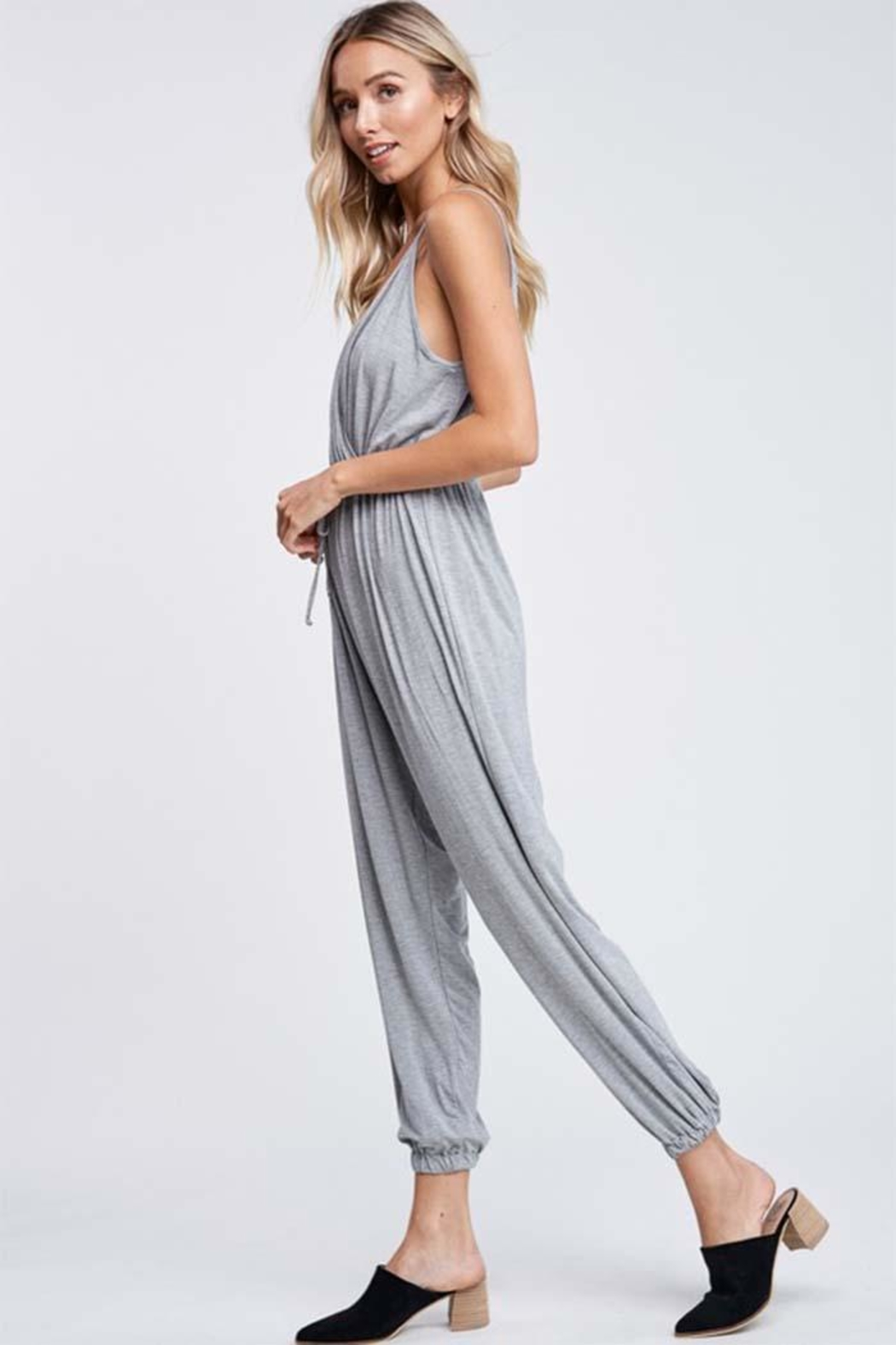 Jolie Crossover Knit Jumpsuit - Front Full Image