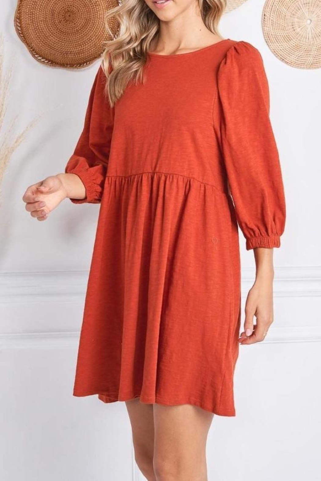 Jolie Elisa Dress (Available In Rust & Olive) - Front Cropped Image