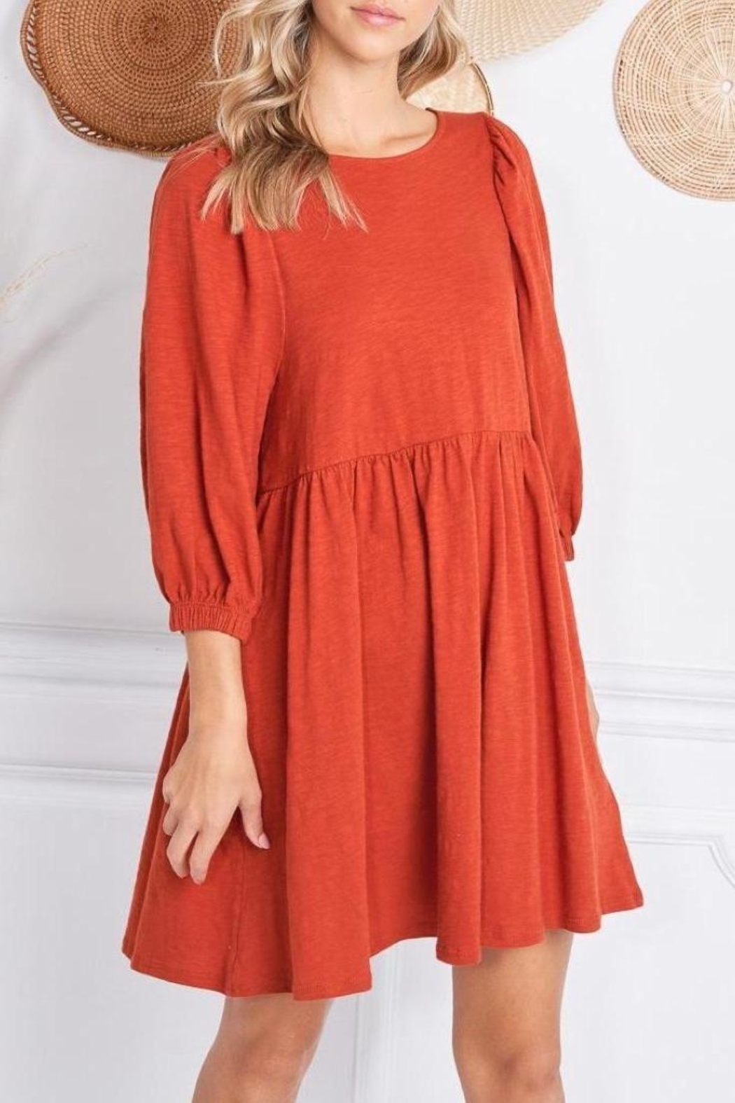 Jolie Elisa Dress (Available In Rust & Olive) - Front Full Image