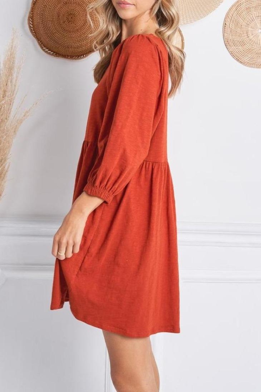 Jolie Elisa Dress (Available In Rust & Olive) - Side Cropped Image