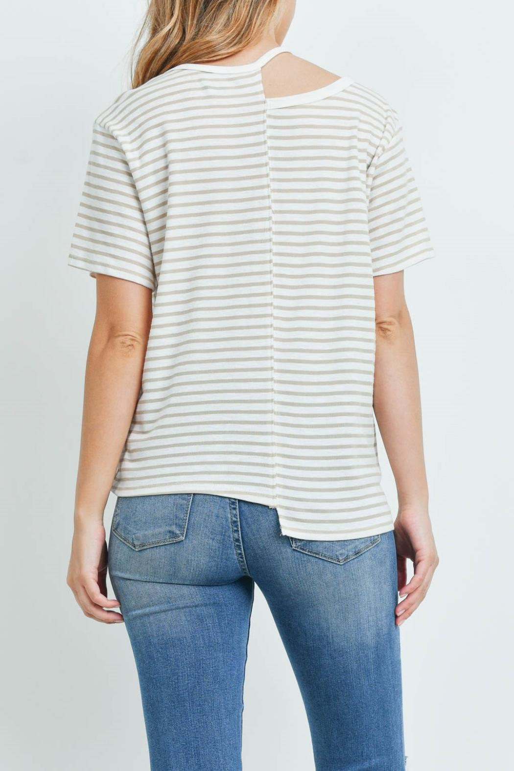 Jolie Ivory Taupe-Striped Top - Back Cropped Image