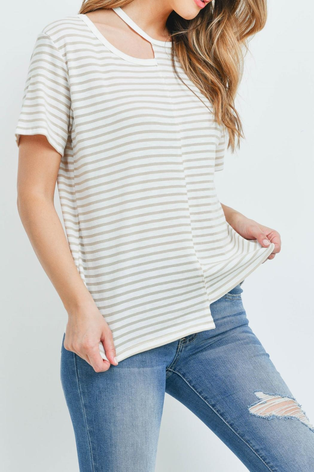 Jolie Ivory Taupe-Striped Top - Side Cropped Image