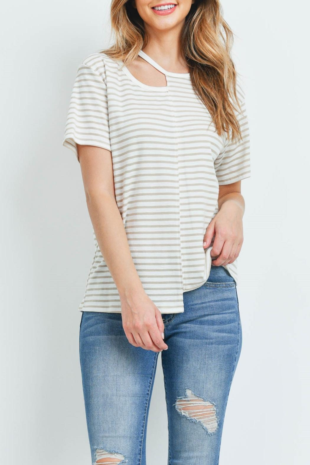 Jolie Ivory Taupe-Striped Top - Main Image