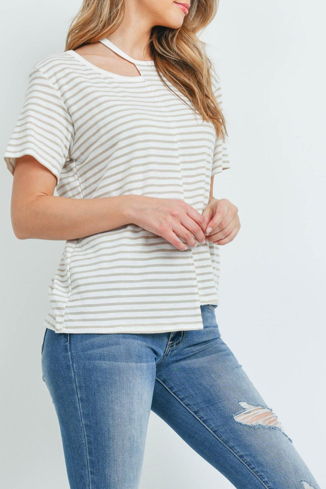 Jolie Ivory Taupe-Striped Top - Front Full Image