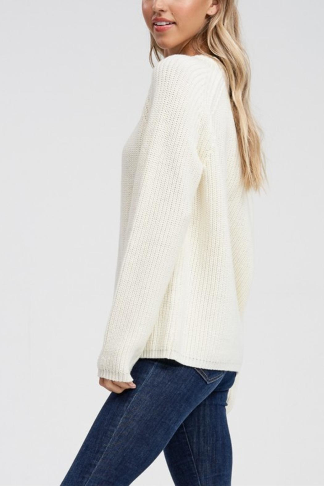 Jolie Long Sleeve Ribbed Sweater - Side Cropped Image