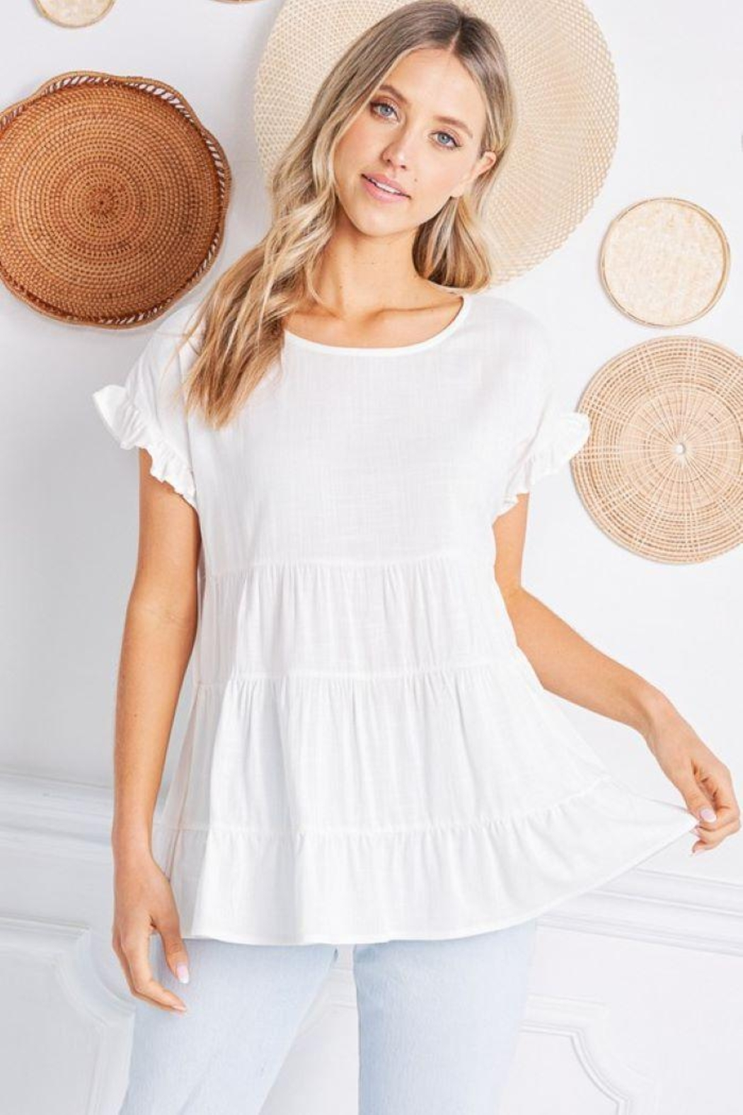 Jolie Ruffle Sleeve Tiered Top - Front Full Image