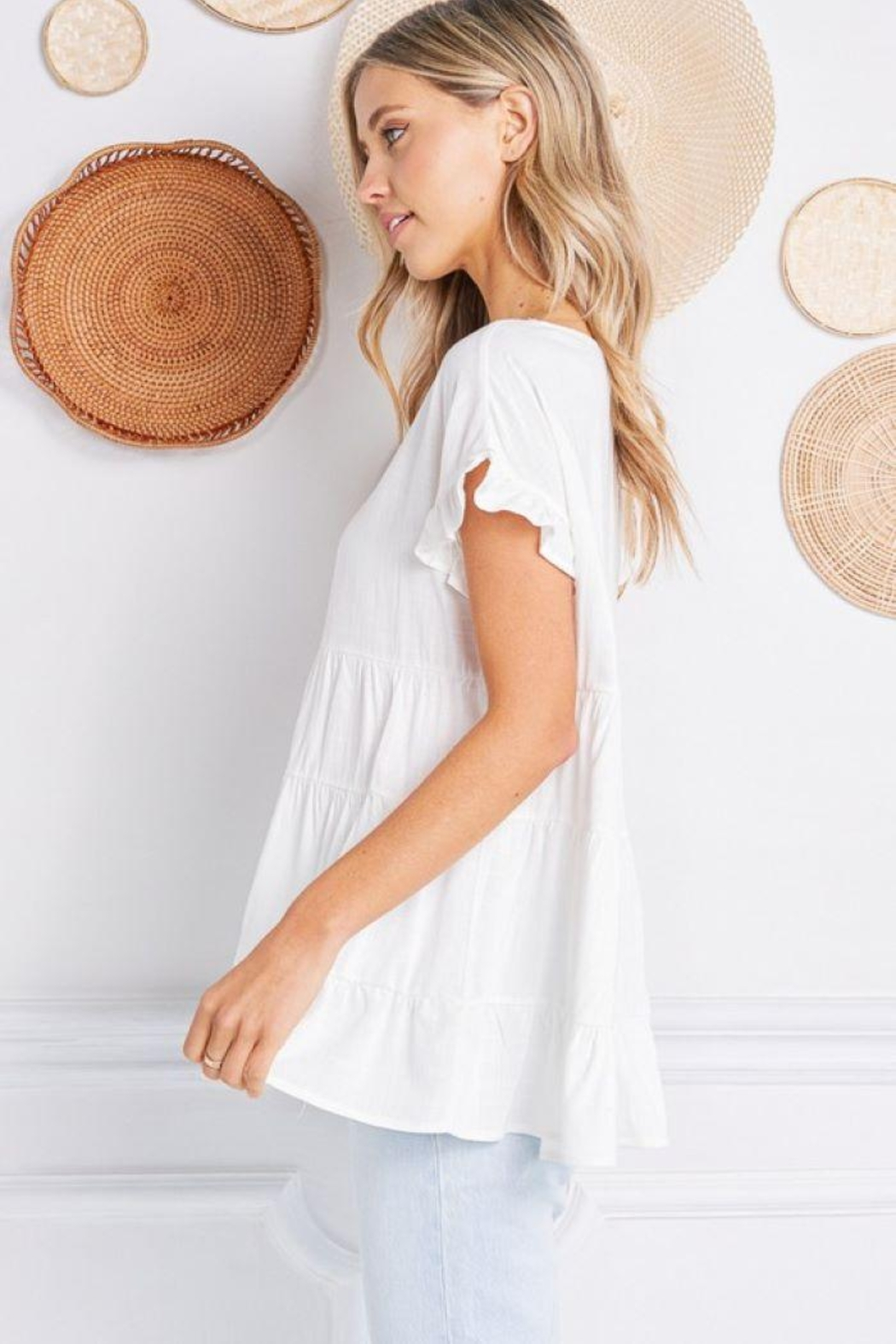 Jolie Ruffle Sleeve Tiered Top - Back Cropped Image