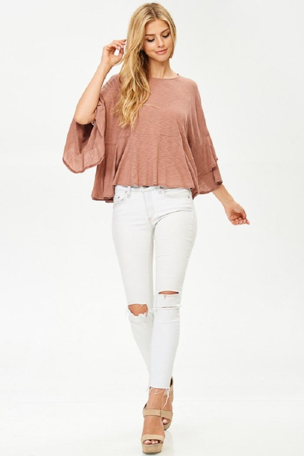 Jolie Ruffle Sleeve Top - Back Cropped Image