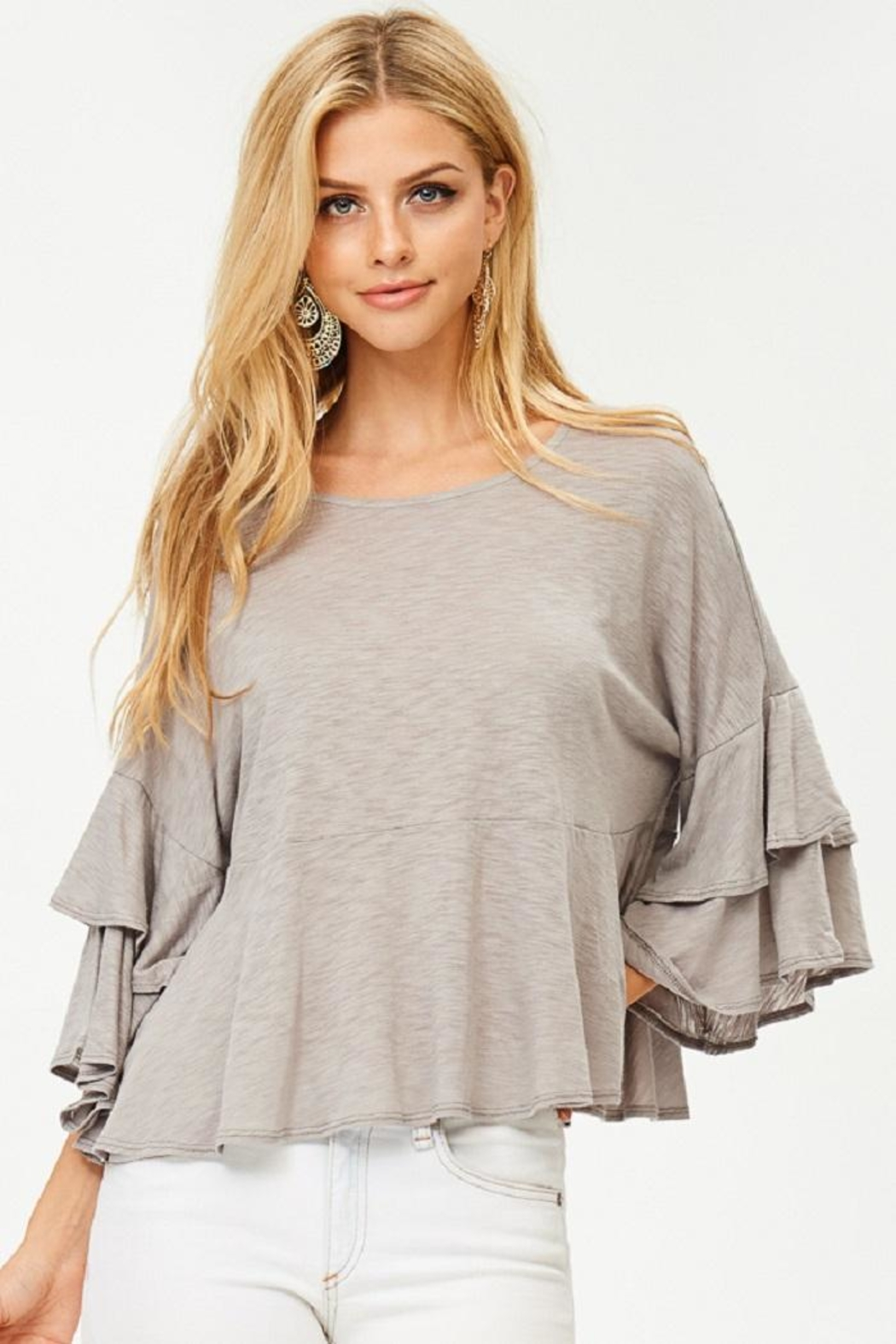 Jolie Ruffle Sleeve Top - Front Full Image