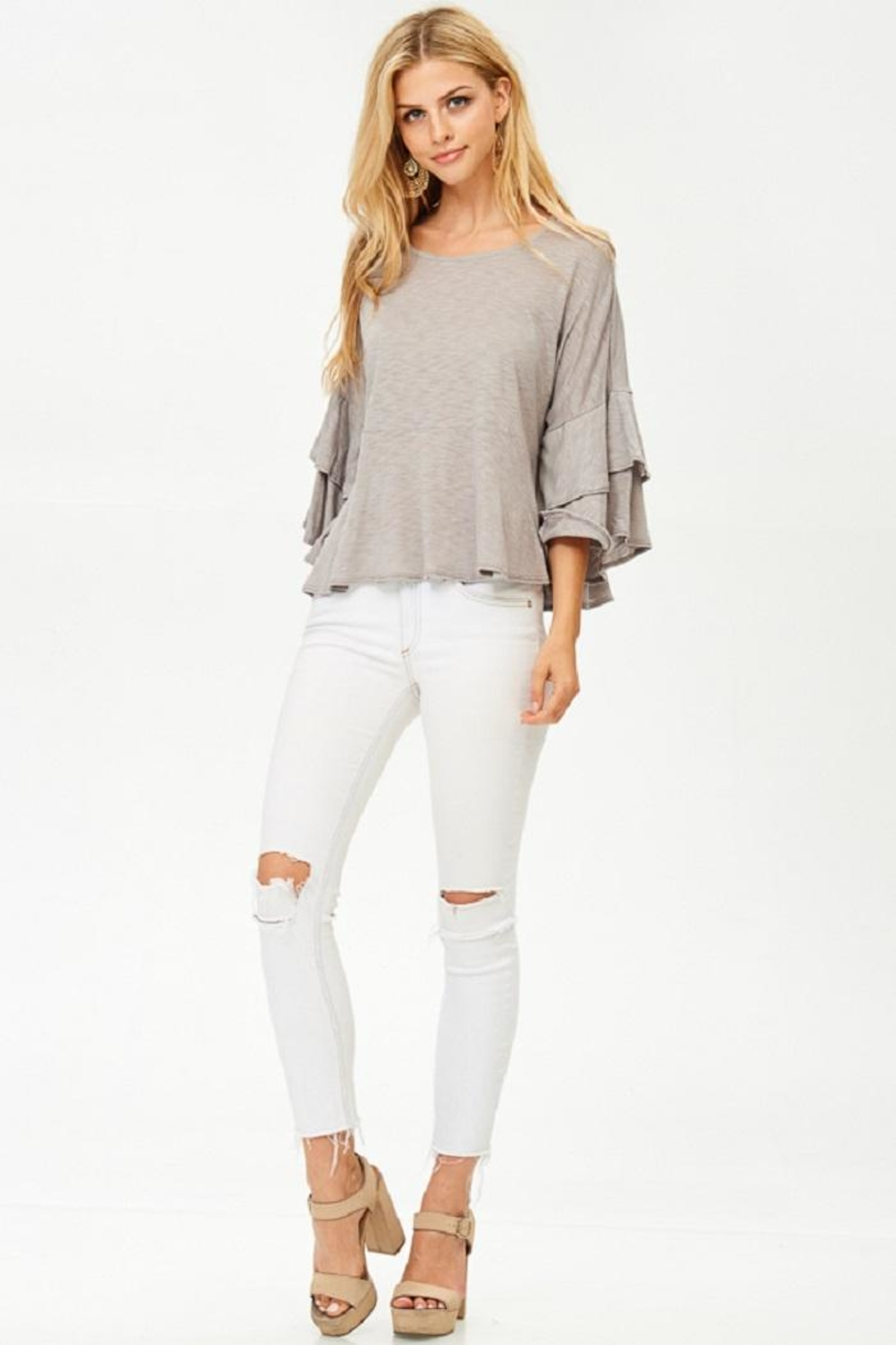 Jolie Ruffle Sleeve Top - Front Cropped Image