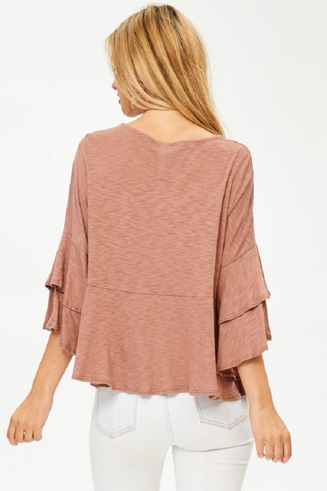 Jolie Ruffle Sleeve Top - Side Cropped Image