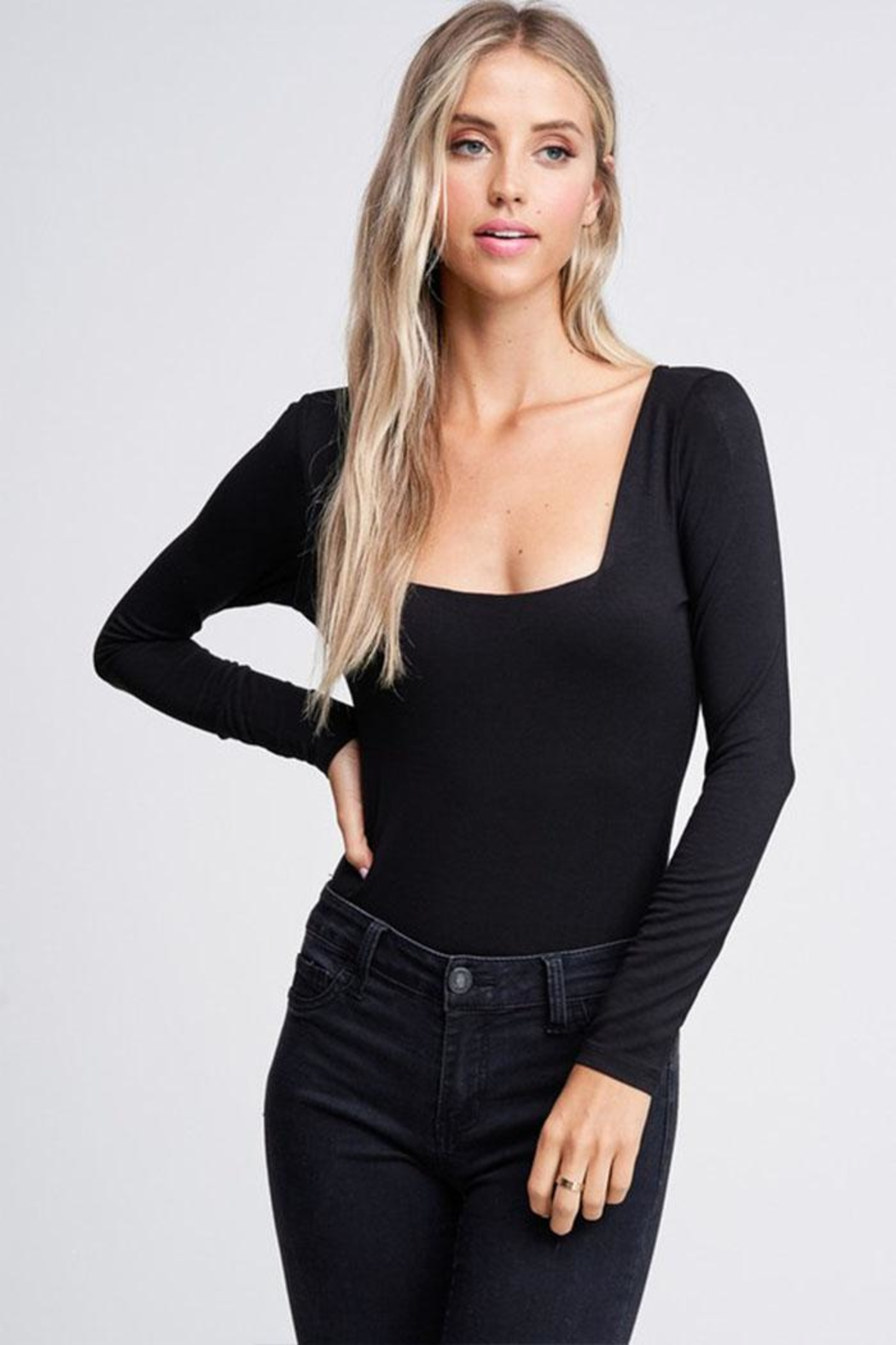 Jolie Square Neck Bodysuit - Front Cropped Image