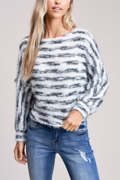 Jolie Striped And Fuzzy Sweater - Product List Image