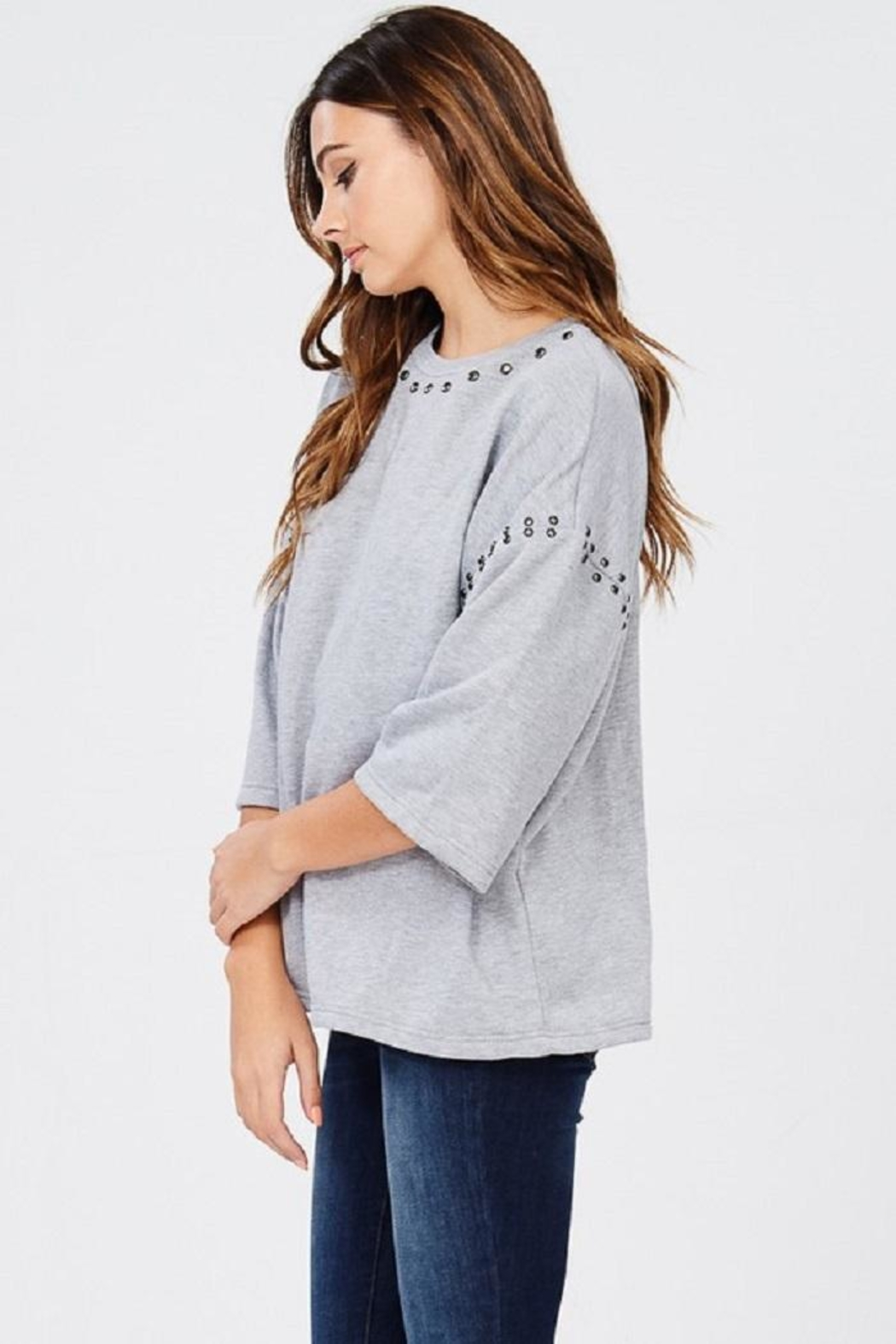 Jolie Stud Detail Sweater - Back Cropped Image