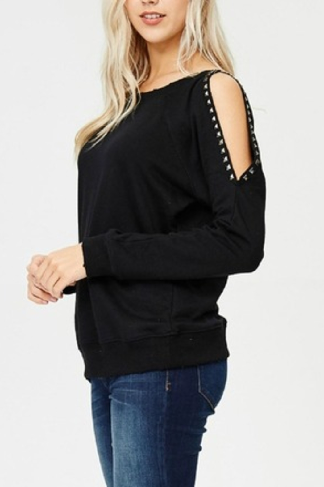 Jolie Studded Sleeve Top - Front Full Image