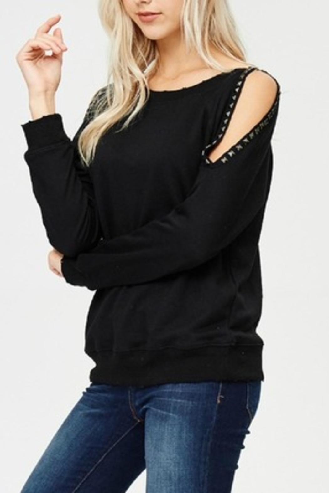 Jolie Studded Sleeve Top - Front Cropped Image