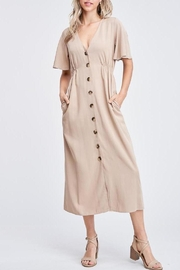Jolie There She Goes Button Front Pocket Dress Dress In Sand - Product Mini Image