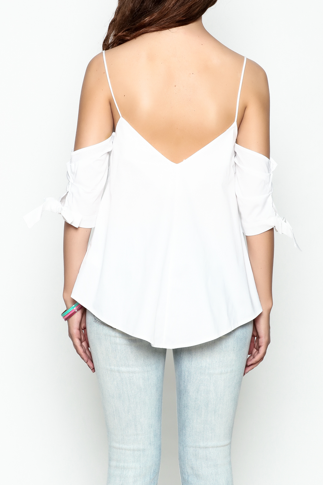Jolie Tie Sleeve Top - Back Cropped Image