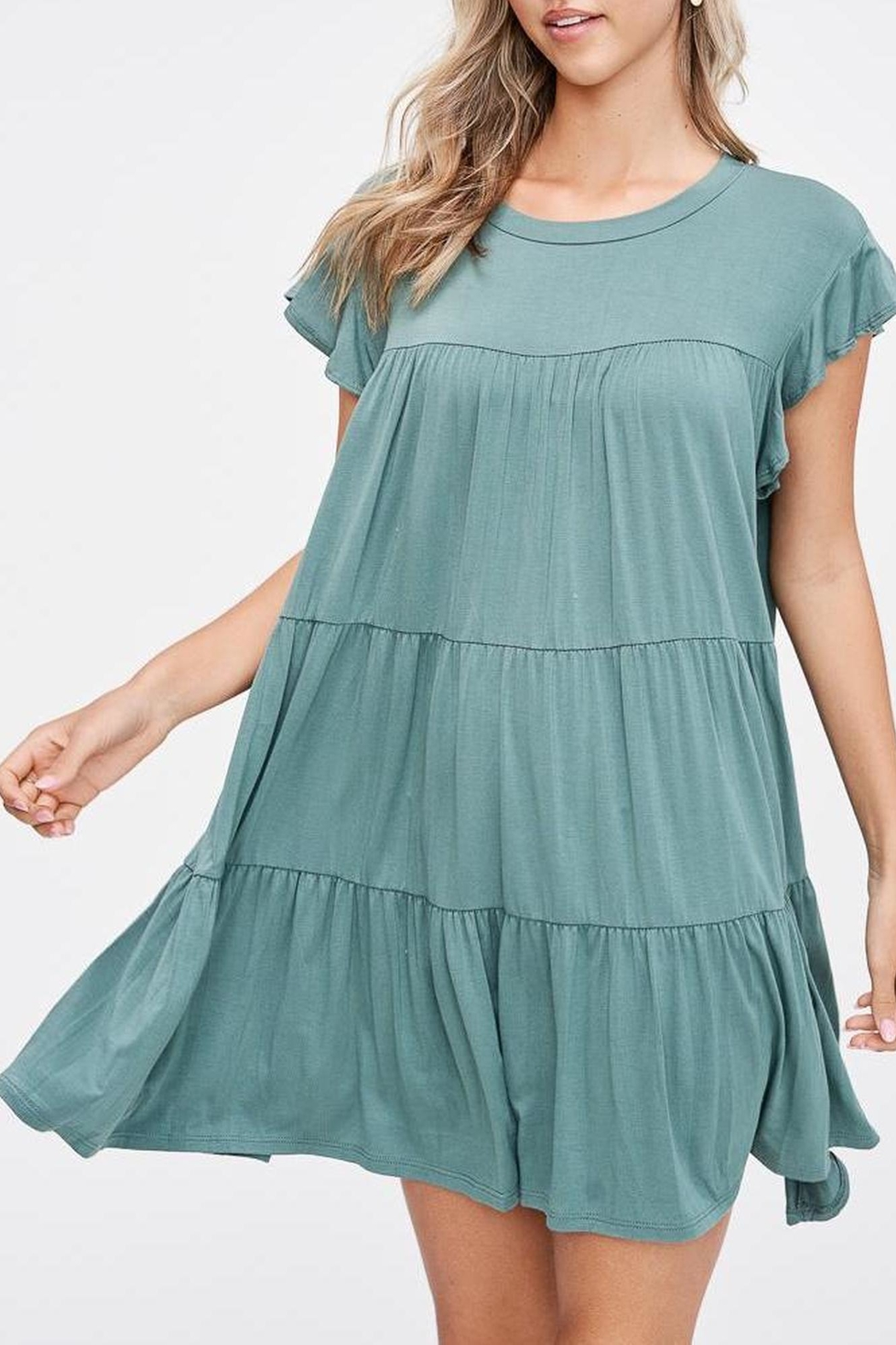 Jolie Tiered Trapeze Dress - Side Cropped Image
