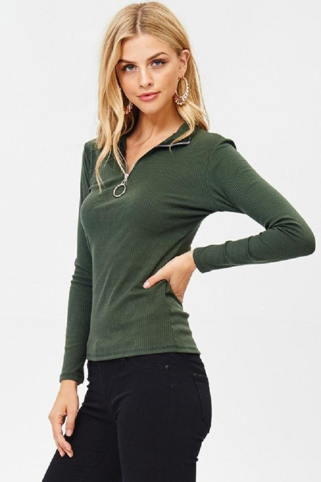 Jolie Zip Front Top - Front Cropped Image